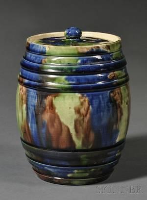 Polychrome Glazed Barrelform Pottery Covered Jar