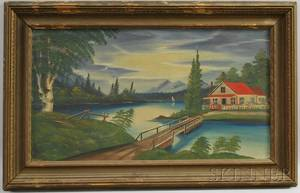Early 20th Century American School Oil on Panel Landscape with Lakeside Cottage