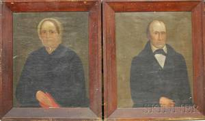 Pair of 19th Century American School Oil on Canvas Portraits of a Man and Wife