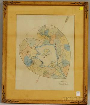 19th Century American School Ink and Watercolor Map of a Womans Heart