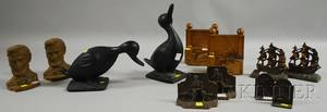 Pair of Blackpainted Cast Iron Duck Figures and Five Pairs of Cast Iron and Metal Figural Bookends