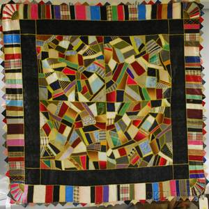 Late Victorian Pieced Embroidered Crazy Quilt with Corner Fan Design