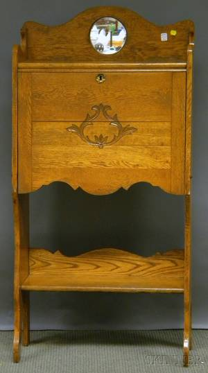 Late Victorian Oak Fallfront and Mirrored Ladys Writing Desk