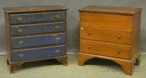 Small Pine Blanket Chest over Two Drawers and a Painted Federalstyle Fourdrawer Chest