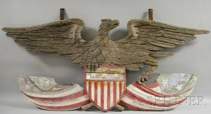 Large Carved and Painted Wood American Eagle with Shield and Draped Flag Plaque