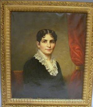 19th Century American School Oil on Canvas Portrait of Mrs Underfell of New York City