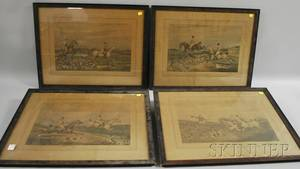 Four Framed English Handcolored Fox Hunt Scene Prints