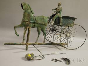 Patinated Molded and Sheet Copper and Cast Zinc Horse Driver and Cart Weather Vane