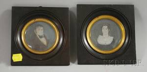 Pair of Portrait Miniatures of a Man and Woman