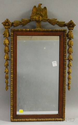 Giltgesso and Mahogany Veneer Mirror with Eagle Crest