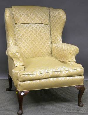Queen Annestyle Upholstered Carved Mahogany Wing Chair