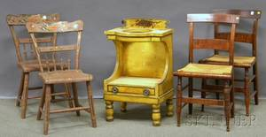 Pair of Late Federal Maple and Tiger Maple Side Chairs a Pair of Polychromedecorated Wood Side Chairs and a Yellowpainted and Decor