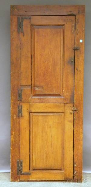 Country Pine Cupboard with Two Paneled Doors