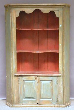 Country Green and Redpainted Wood Corner Cupboard