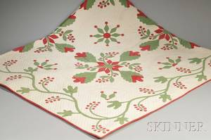 Pieced and Applique Cotton Quilt with Red and Green Flowers and Berries