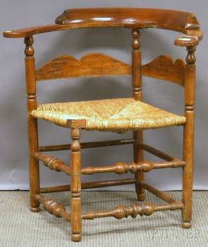 William  Mary Maple and Ash Roundabout Chair with Woven Rush Seat