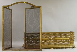 Brass and Wire Mesh Folding Fire Screen and a Pierced Sheet Brass Fire Fender