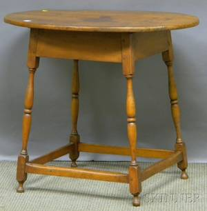 William  Mary Oval Cherry and Maple Tavern Table with Splayed Turned Legs and Stretcher Base