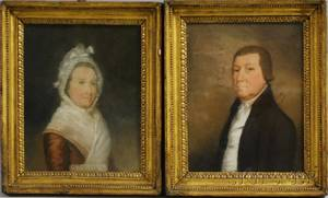Possibly James Sharples British 18251893 Pair of Portraits of a Husband and Wife