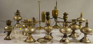 Nine Nickelplated Kerosene Table Lamps a Brass Adjustable Student Lamp and a Brass Adjustable Double Student Lamp