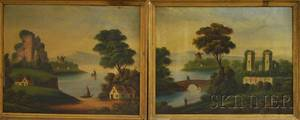 AmericanContinental School 19th Century Two Framed Landscapes with Waterway Villages and Castle Ruins