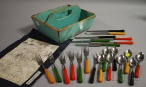 Turquoisepainted Wood Cutlery Box with Bakelitehandled Flatware