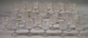 Colorless Pressed Ribbed Bellflower Pattern Glass Stemware
