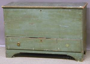 Greenpainted Wooden Blanket Chest over Long Drawer