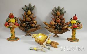 Pair of Folk Art Encrusted and Painted Composition Compote of Fruit Garnitures a Pair of Folk Carved and Painted Bowl of Fruit Wall Or