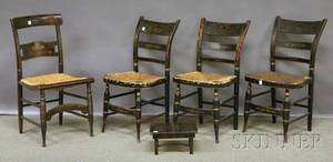 Four Painted and Stencildecorated Fancy Side Chairs and a Cricket