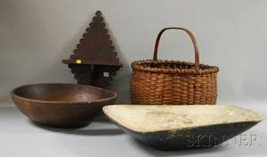 Three Country Wooden Items and a Woven Splint Basket