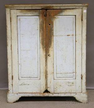 Whitepainted Wood Cupboard with Two Paneled Doors