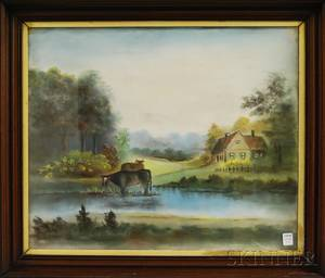 American School 19th Century Pastoral Landscape with Cottage and Cows