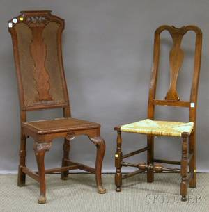 English Queen Anne Carved Walnut and Burl Veneer Crookedback Side Chair with Upholstered Slip Seat and an English Queen Anne Can