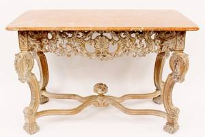 Modern Pickled Beechwood Marble Top Console Table