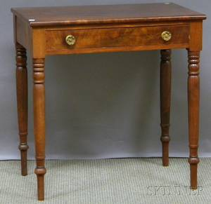 Classical Mahogany and Mahogany Veneer Side Table with Long Drawer