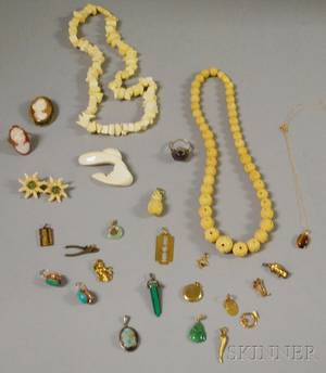 Small Group of Antique and Hardstone Jewelry