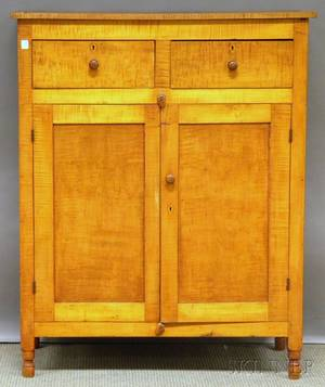 Tiger Maple Cupboard with Two Paneled Doors
