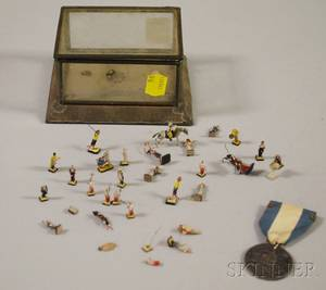 Pewter Rhode Island Ship Token and a Miniature Mexican Tin and Glass Display Box with a Collection of Painted Composition Figures