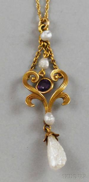 Art Nouveau 14kt Gold Amethyst and Freshwater Pearl Lavaliere Necklace