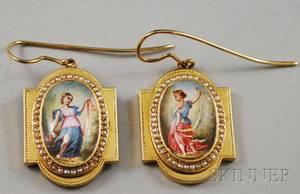 Pair of Highkarat Gold Seed Pearl and Enamel Earrings