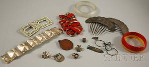 Group of Silver Art Deco and Ethnographic Jewelry Items