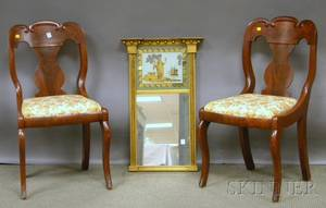 Federal Giltwood Tabernacle Mirror with Eglomise Glass Tablet and a Pair of Empire Mahogany and Mahogany Veneer Side Chairs