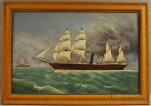 20th Century Oil on Canvas Portrait of a Steam Sailing Ship