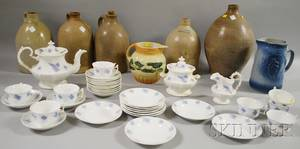 Thirtythreepiece English Chelseaware Partial Tea Service a Roseville Pottery Jug a Painted Molded Stoneware Pitcher and Five Stone