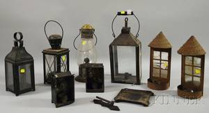 Four Tin and Glass Lanterns a Pair of Mirrored Tin Candle Sconces and a Pair of Small Tin Lanterns