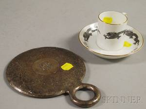 Sterling Silvermounted Hand Mirror and a Tiffany  Co Dragondecorated Porcelain Cup and Saucer