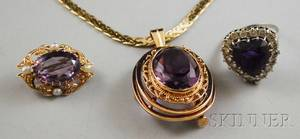 Small Group of 14kt Gold and Amethyst Jewelry