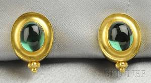 22kt and 18kt Gold and Green Tourmaline Earclips Maija Neimanis