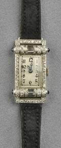 Art Deco Platinum Sapphire and Diamond Wristwatch Omega